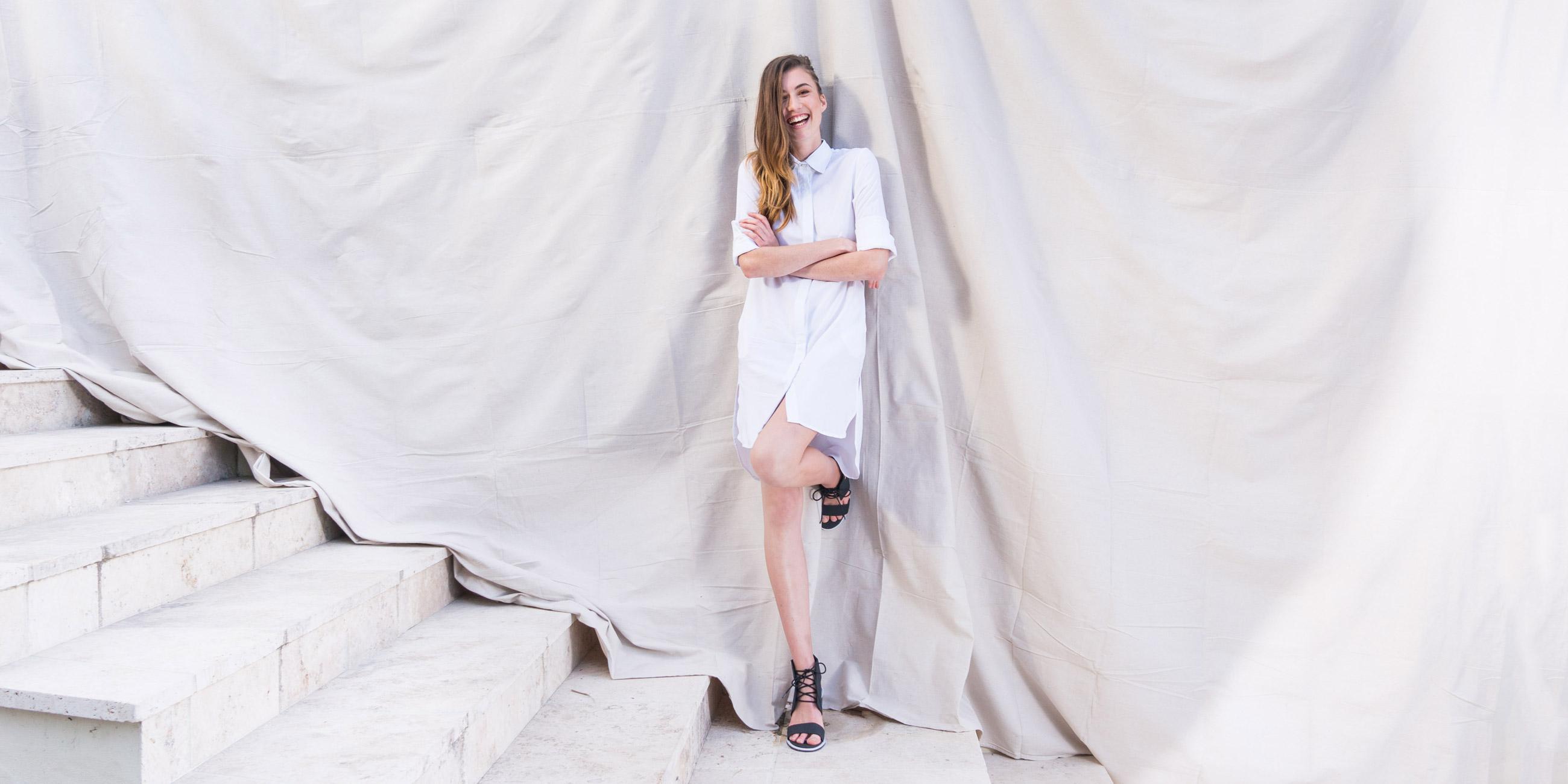 Bamboo Material Eco Friendly Fashion White Shirt Dress