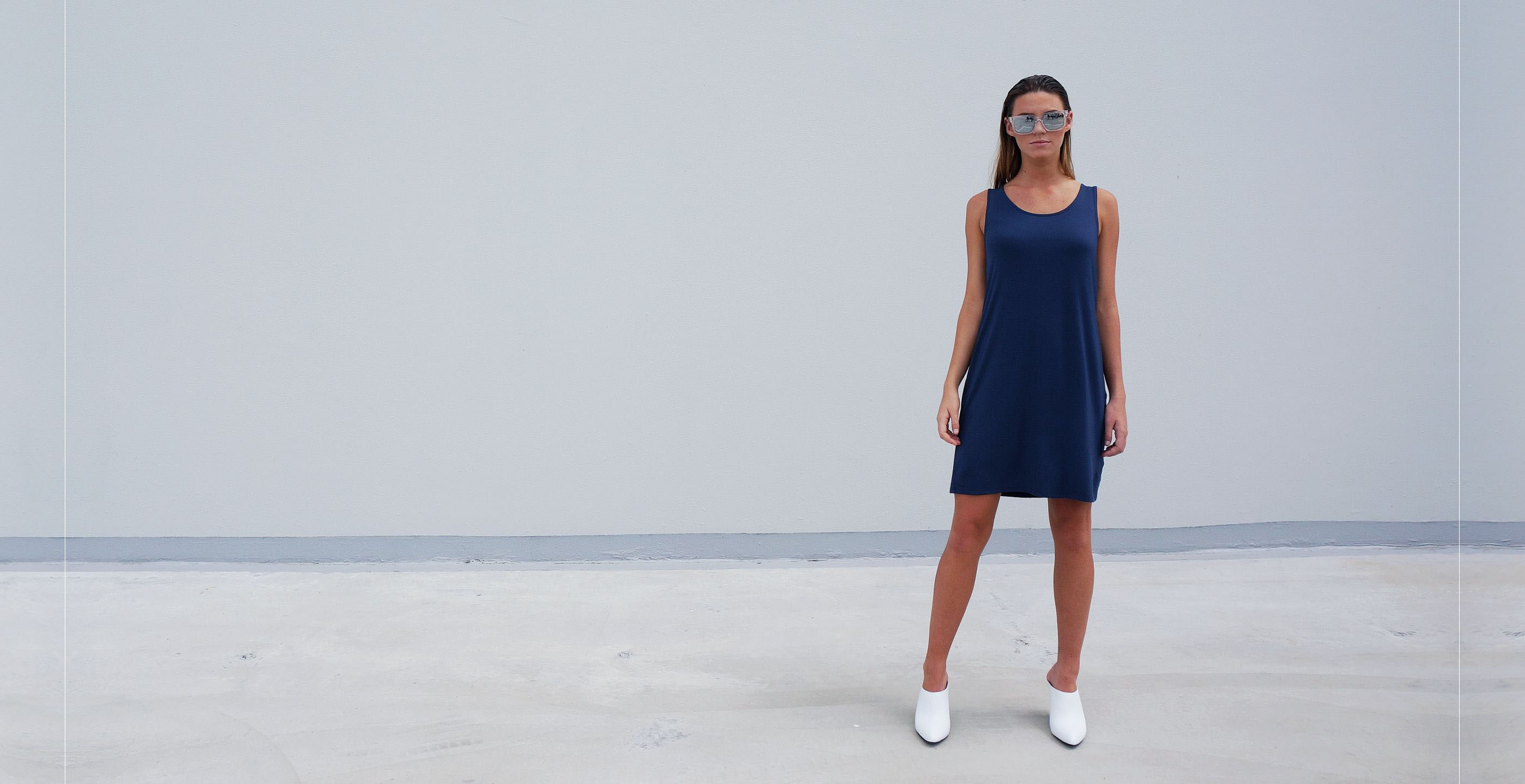 Bamboo Singlet Short Dress Venus Blue 3