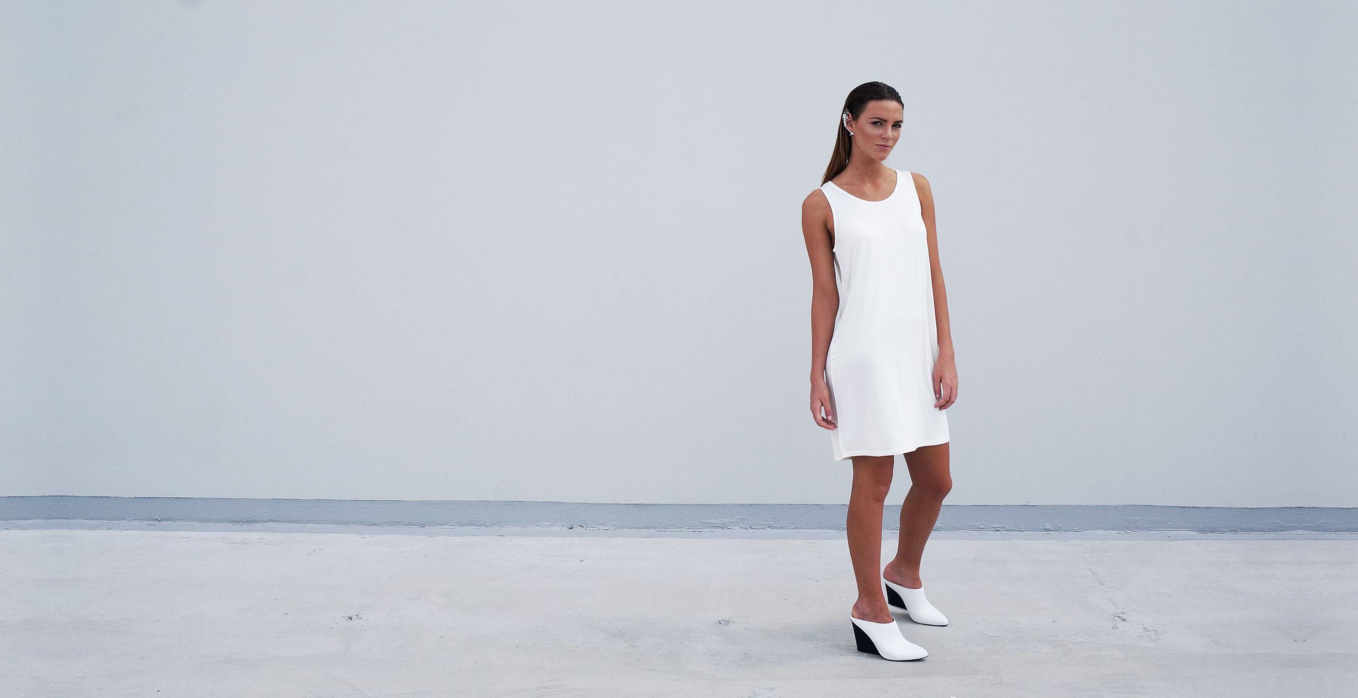 Bamboo Singlet Short Dress Venus White 3