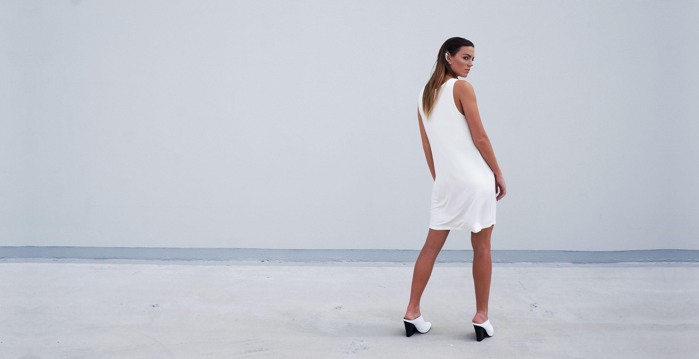 Bamboo Singlet Short Dress Venus White 1