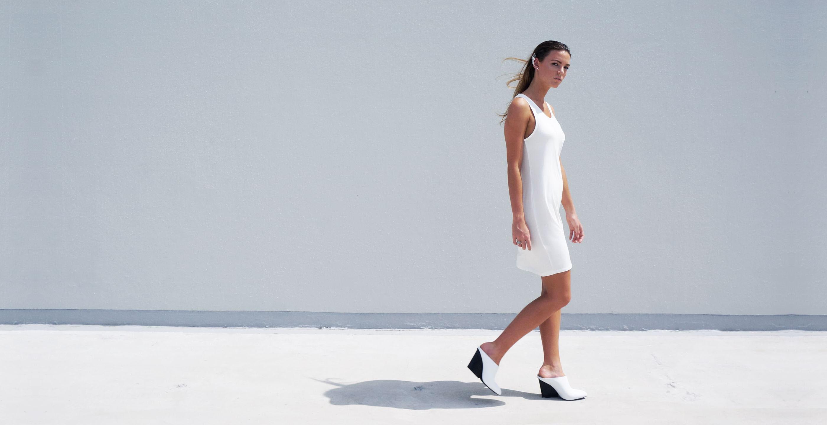 Bamboo Singlet Short Dress Venus White