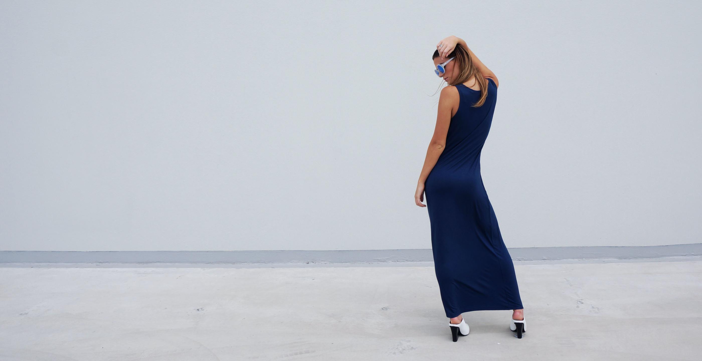 Bamboo Singlet Maxi Dress Venus Blue 1