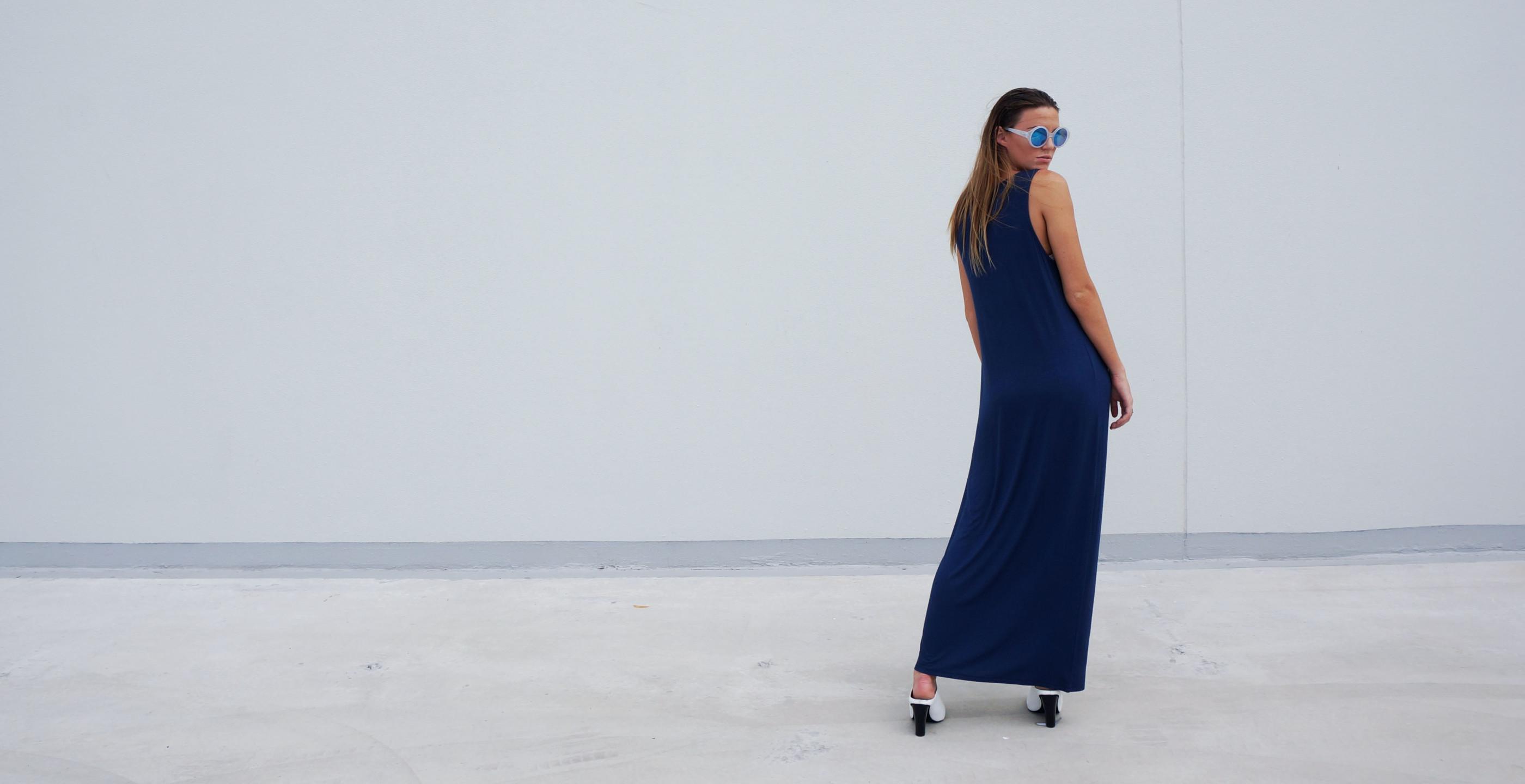 Bamboo Singlet Maxi Dress Venus Blue