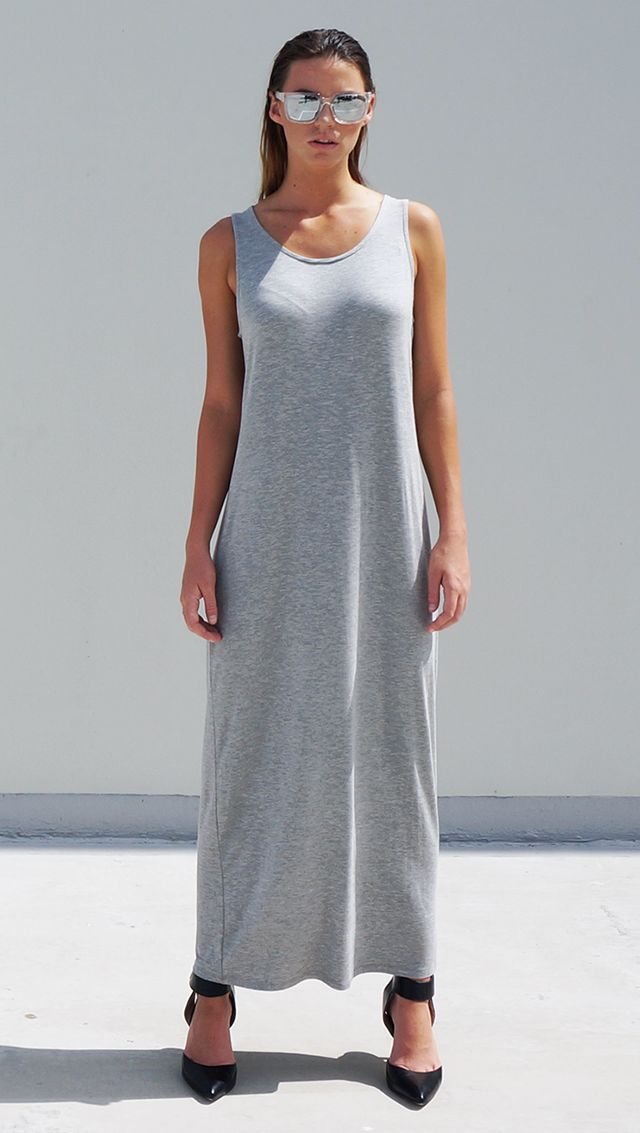 Bamboo Jersey Eco Friendly Fashion Singlet Tank Maxi Dress Grey