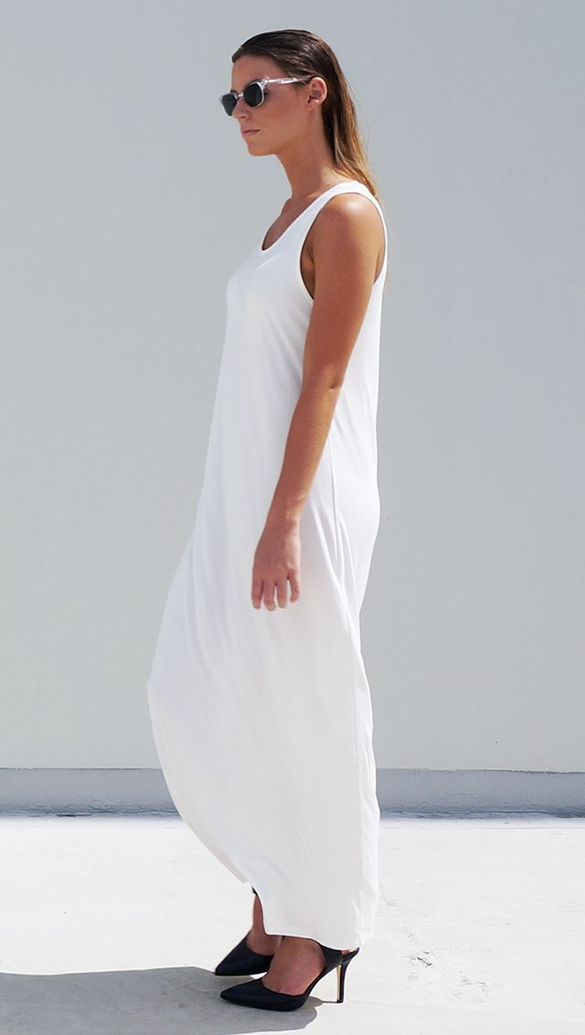 Bamboo Jersey Eco Friendly Fashion Singlet Tank Maxi Dress White